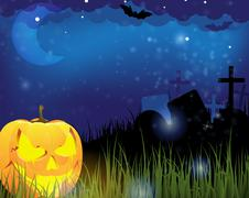 Jack o lantern on a cemetery Stock Illustration