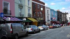 Portobello street view Notting Hill London Stock Footage