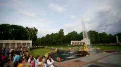 Pan view of fountains at Peterhof. - stock footage