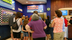 Tourists Wait For The Ben & Jerrys Factory Tour Stock Footage