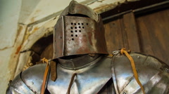 Metal armour helmet on the stand Stock Footage