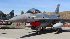 F-16 Multirole fighter aircraft. Army equipment show in Poland Stock Footage