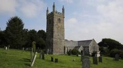 Cornish church of St Mawgan in Meneage Cornwall England uk Stock Footage