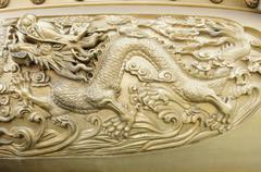 gold dragon texture - stock photo