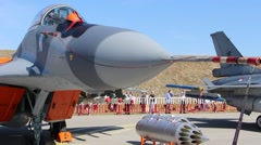MIG - 29 Multirole fighter. Army equipment show - stock footage