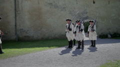 Preparation of medieval French troops Stock Footage