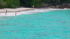 Similan island, Tropical beach and tourlist on the beach Stock Footage