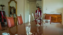 Lord of the castle to come and sit at the table Stock Footage