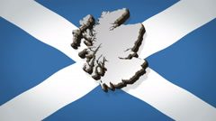 Map of Scotland rotating in front of Saltire flag of patron Saint Andrew Stock Footage