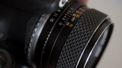 The aperture ring and the focus Stock Footage
