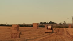 Stacking Hay Bales Stock Footage