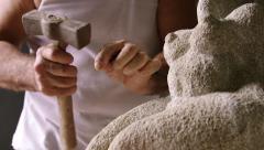 2of4 Sculptor in atelier, artist, craftsman, artisan working, man, equipment - stock footage