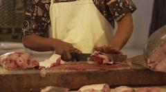 Fischer man cutting fish. Stock Footage