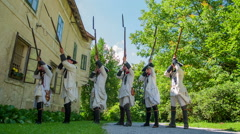 Presentation of a Middle Ages French solders shooting with historick bayonets Stock Footage