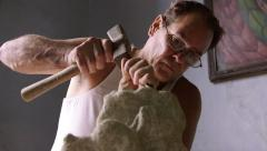 3of4 Sculptor in workshop, artist, art, craftsman, hispanic artisan, statue - stock footage