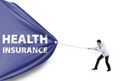 Doctor and a health insurance flag Stock Illustration