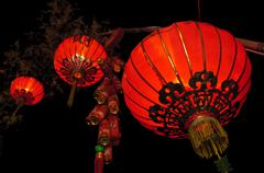 Street lamp on bamboo tree in chinese new year celebration Stock Photos