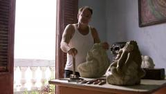 4of4 Sculptor, artist, art, craftsman, artisan working, man using hammer - stock footage