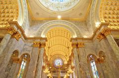 interior inside a catholic church - stock photo