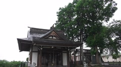 Tilt Of The Empty Courtyard Of A Shinto Shrine In Fussa Tokyo 4K Stock Footage