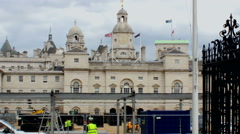 Construction work in front of Horse Guards Parade. Stock Footage