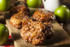 homemade glazed apple fritters - stock photo