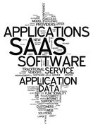 word cloud software as a service - stock illustration