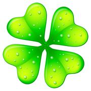 clover with drops - stock illustration