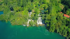 Flying over Roski Slap waterfall Stock Footage