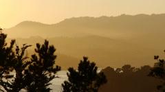 Sunset Over Coastal Hills California Stock Footage