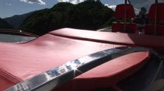 Red sofa on maxi rib  - stock footage