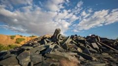 Sliding camera Time Lapse of Abandoned slate mine waste materials Stock Footage