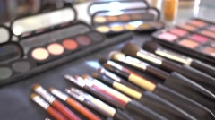 Brush and eye shadow makeup tools Stock Footage