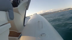 On board view of rib navigating fast  - stock footage