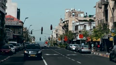 Western Asia Mediterranean Sea Israel Haifa 025 downtown street view with zoom Stock Footage