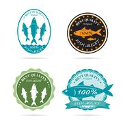 set of vector an fish label on white background - stock illustration