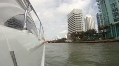 On board view of boat navigating in Miami  Stock Footage