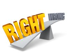 right weighs in against wrong - stock illustration
