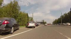 Driving thru Sheremetyevo airport. Terminal F and aeroexpress Stock Footage