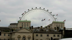London Eye behind of Horse Guards Parade. Stock Footage