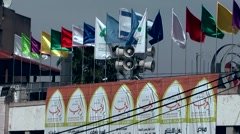 Western Asia Mediterranean Sea Israel Haifa 033 flags and sirens on a roof Stock Footage