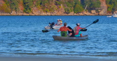 4K Two-Person Kayak, Ocean Sport in Harbor with Sail Boats Stock Footage