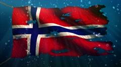 Norway Under Water Sea Torn Flag Loop Animation - 4K Resolution Ultra HD UHD Stock Footage