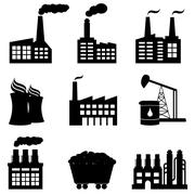 Factory, nuclear power plant and energy icons Stock Illustration