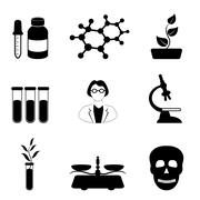science, biology and chemistry icon set - stock illustration
