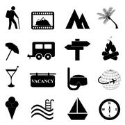 leisure and recreation icon set - stock illustration