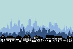 suburbs and urban city - stock illustration