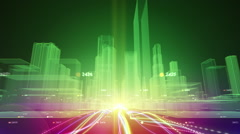 Fiber optic cables in abstract city Stock Footage