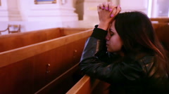 Praying girl Stock Footage