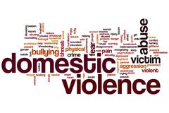 domestic violence word cloud - stock illustration